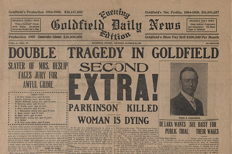 Cover of Goldfield Daily News from 1909
