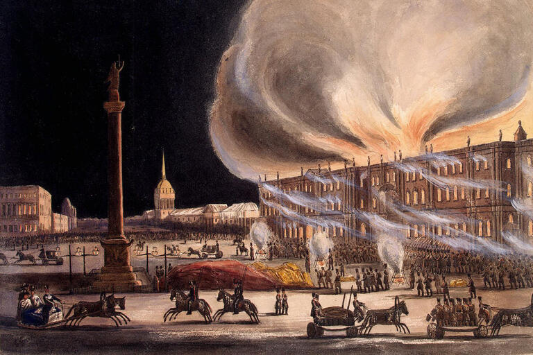 painting of building on fire