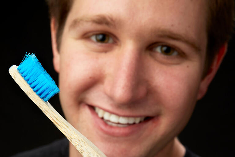 Hunter Davidson poses with toothbrush
