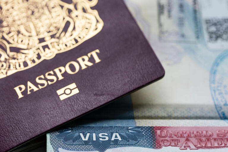 A passport and U.S. visa