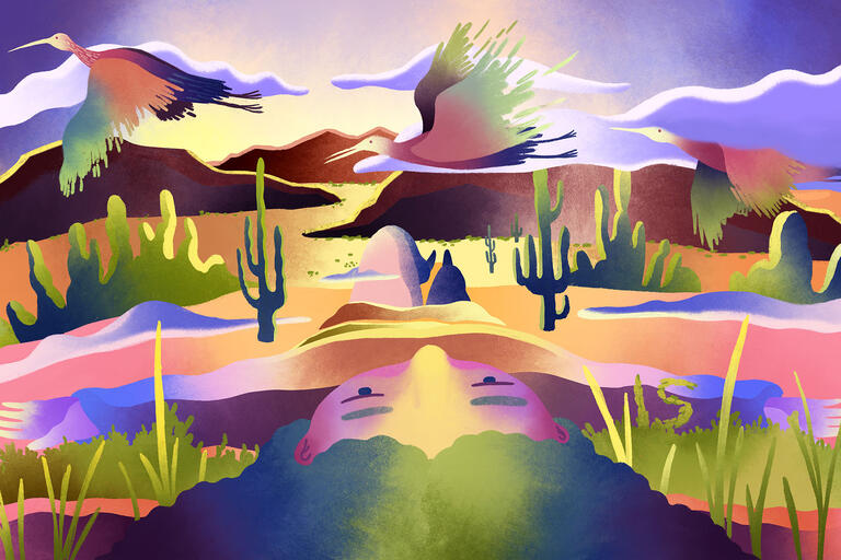 vibrantly colored artwork of desert scene