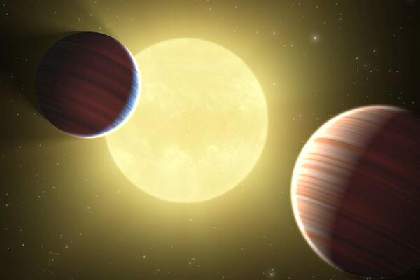 Artist rendition of the Kepler-9 planetary system