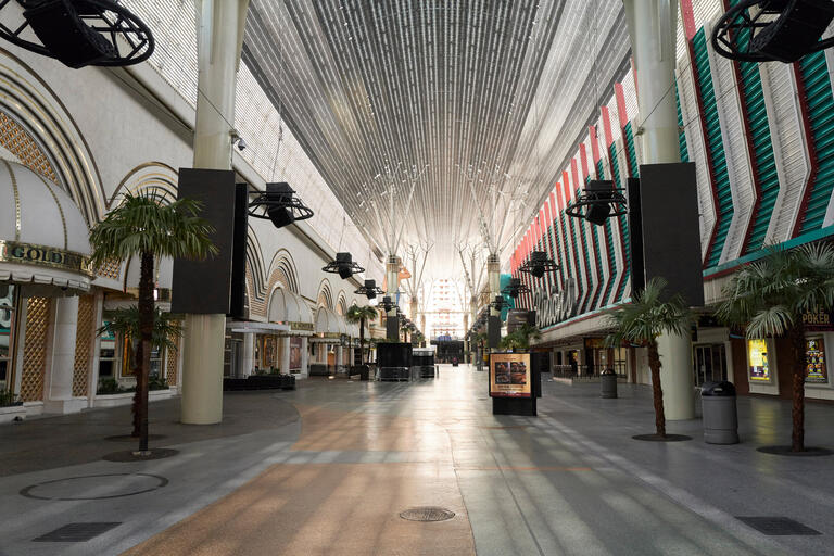 A look down an empty Fremont Street.