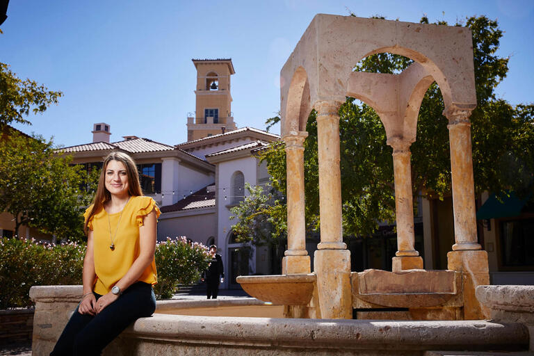 Sociology doctoral student Marta Soligo poses at Montelago Village at Lake Las Vegas
