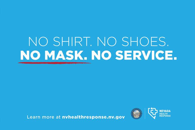 "A sign reading ""No shirt. No shoes. No mask. No service."""