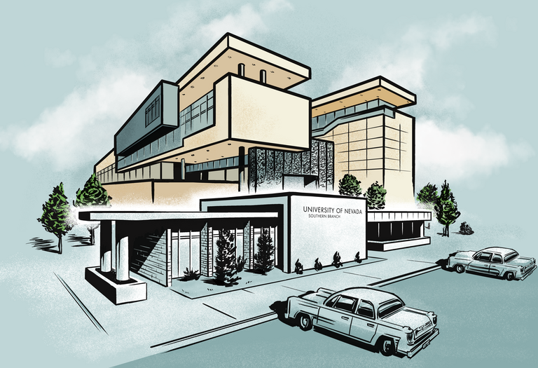 illustration of Maude Frazier Hall and Hospitality Hall