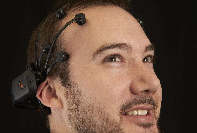 upclose shot of man with sensors on his head