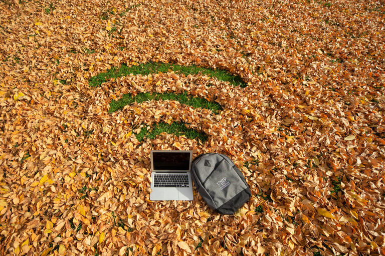 "A laptop sits in a pile of leaves, in which lines are cleared out to make the ""Wi-Fi"" symbol"