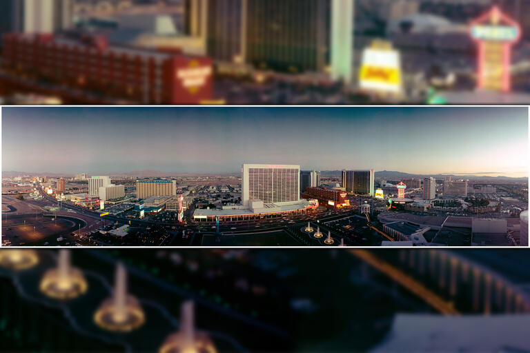 A panoramic view of the Las Vegas Strip in the early 1980s.