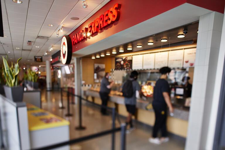 a Panda Express restaurant in a campus food court