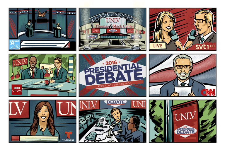 an illustration of televisions around the world tuned to UNLV