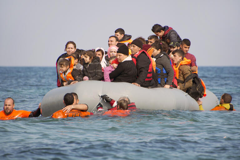 Refugees on a raft
