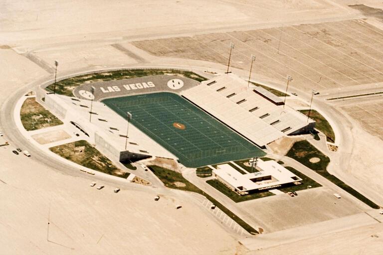 An aerial photo shows Sam Boyd Stadium in 1971.
