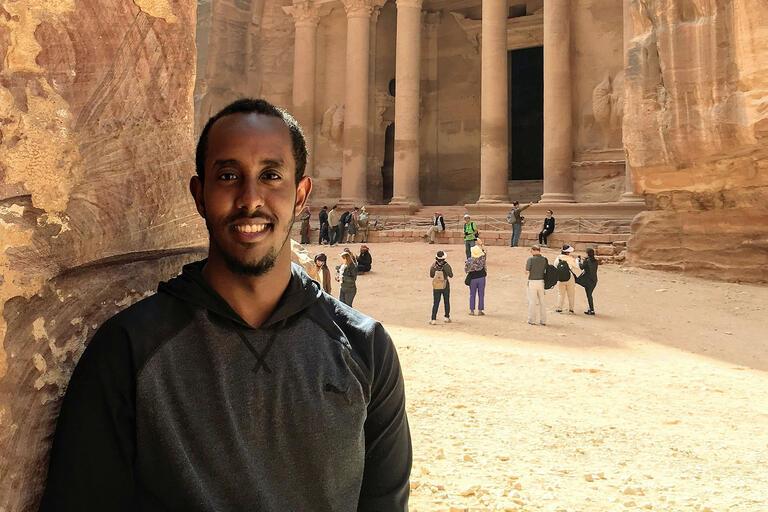man in front of Petra in Jordan