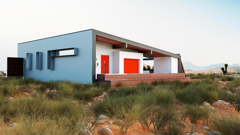 A self-sufficient home sits in the desert.