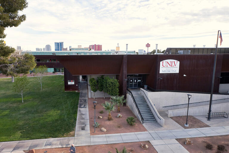 An elevated shot of the UNLV School of Medicine building
