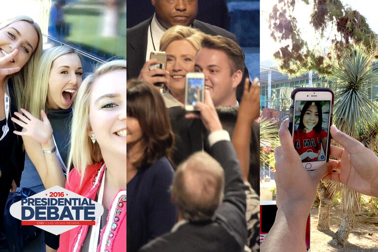 Several views of people taking photos with their phones