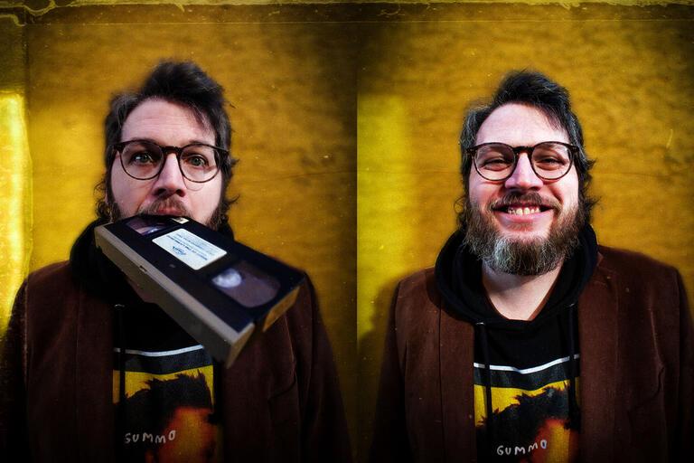 A man eats a VHS cassette