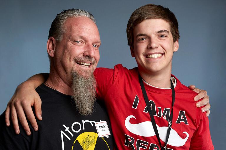 Chris Tilman and his son Wyatt