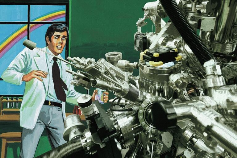 A scientist recoils from The Machine. (Illustration by Chris Jones)