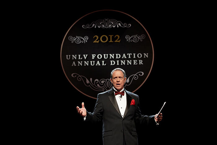 UNLV Foundation Chairman John O'Reilly welcomes more than 1,000 supporters to the 2012 UNLV Foundation Annual Dinner. (Aaron Mayes/UNLV Photo Services)