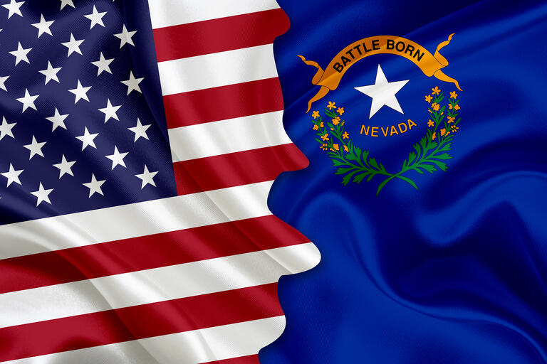 U.S. and Nevada Flag