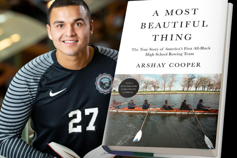 "student-athlete and book ""A Most Beautiful Thing"""