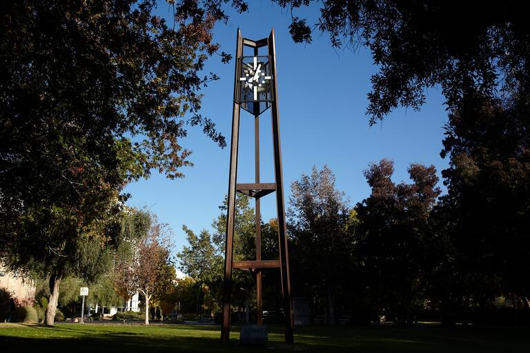 Low angle view of the watch tower sculpture on the UNLV campus.