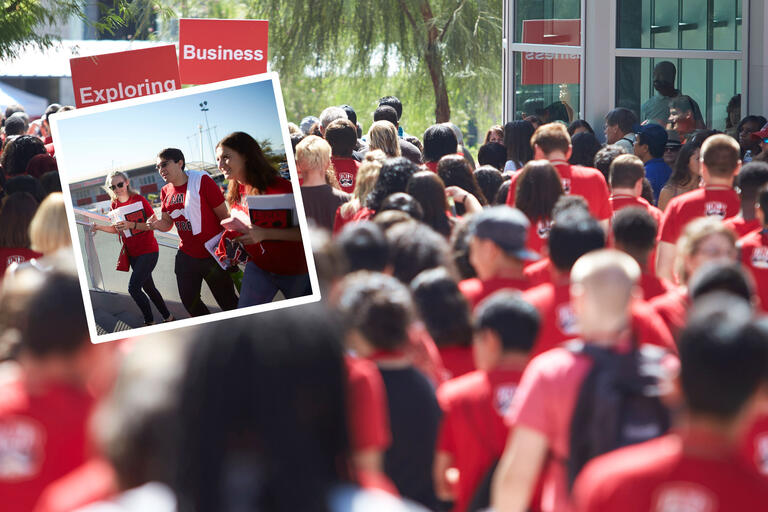 A two-photo collage. One photo showcase three students walking up steps with books. Another photo showcases tens of students wearing red shirts on welcome day walking away from the camera.