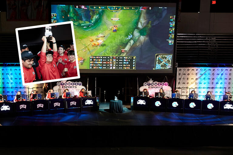 Two photos showing esports co-founder Milo Ocampo raising the championship trophy above his head surrounded by teammates as well as a stage with six computers on each side battling it out in League of Legends.