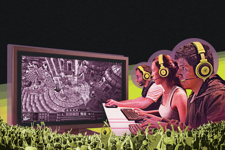 Illustration of several people playing video games