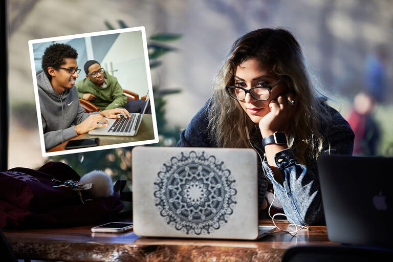 A collage of two images. One image shows two students looking at a computer, one of the students is typing on the keyboard. The other image shows one student with glasses looking at her computer screen.