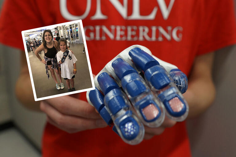 A collage of images showing a snapshot of Hailey posing with a UNLV alumna as well as a close-up shot of a blue 3D printed hand held by a student in a red UNLV Engineering t-shirt.