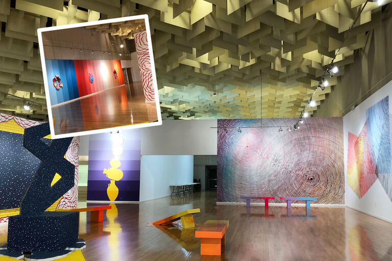 A collage of images showcasing colorful murals and installations on full walls in an art gallery.