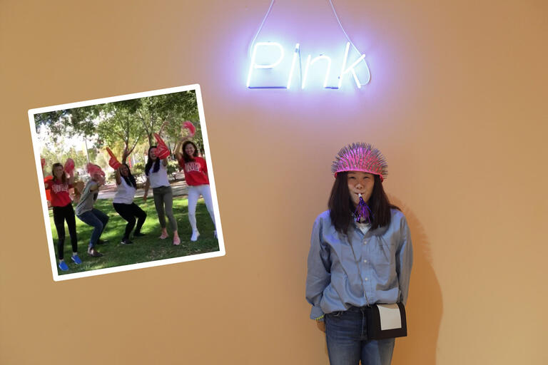 "A collage of images. One image shows a student wearing a pink helmet with nails in it under a pink neon sign that says ""Pink."" Another image shows five students in the grass waving red foam fingers."