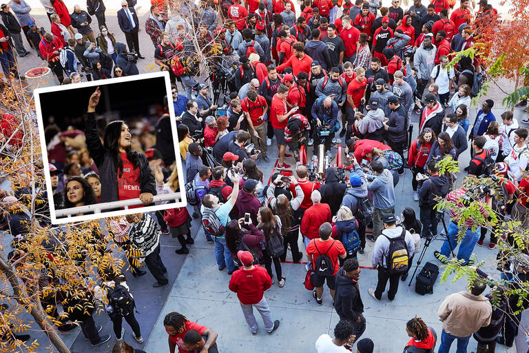 A collage of images. A smaller image shows a student wearing red in a crowded football stadium cheering. A bigger image shows a large gathering of people surrounding a gold cannon with wheels painted red.