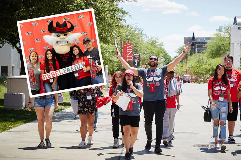 A collage of photos showing a diverse group of students walking down a tree-lined sidewalk and a group of four students posting with a Rebel Family sign with UNLV's mascot, Hey Reb!.
