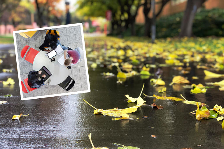 A collage of two images. One image is an aerial photo of three students studying with laptops and books at a round table. The other photo is a rainy, fall scene with yellow leaves on a sidewalk.