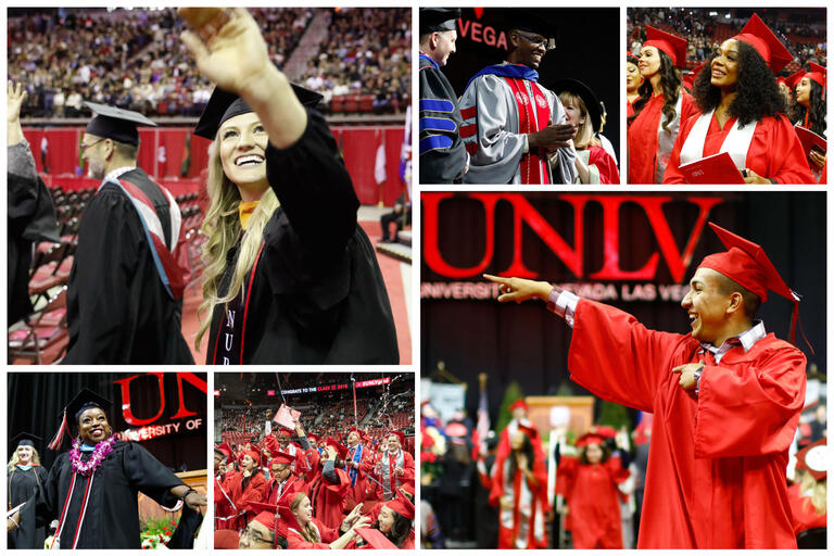 A collage of six images showing students at a commencement ceremony celebrating in black and red caps and gowns.