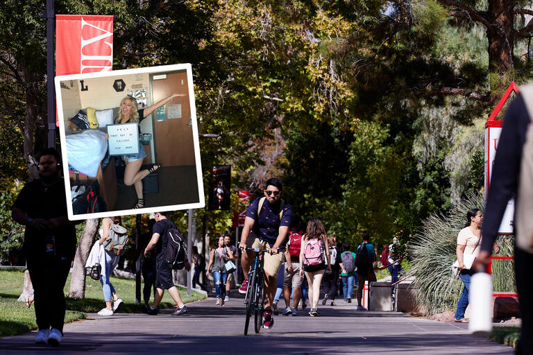 "A collage of images showing a student biking down a busy campus sidewalk, surrounded by green trees. Another student poses in a residence hall with a sign that says ""First Day of School 13th Grade."""