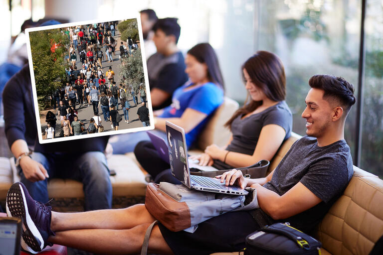 A collage of photos. One photo showcases a student using his laptop on a couch surrounded by other students. Another photo shows tens of students walking down a tree-lined campus sidewalk.