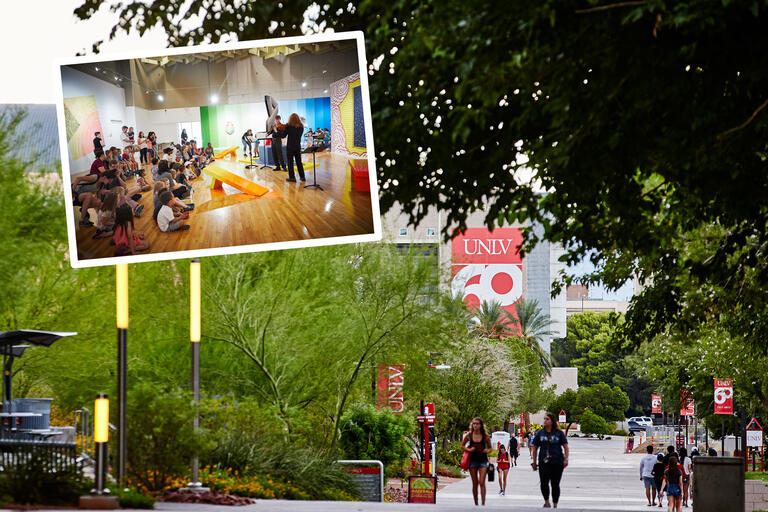 A collage of images showing a group of 20-30 elementary children listening to violin music against a colorful mural and a photo of people walking along a wide sidewalk lined with trees.