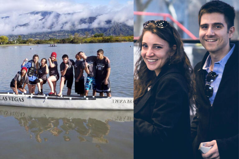 collage of group in canoe on lake and couple smiling