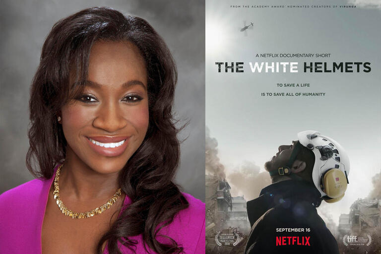 portrait of woman and poster for White Helmets movie