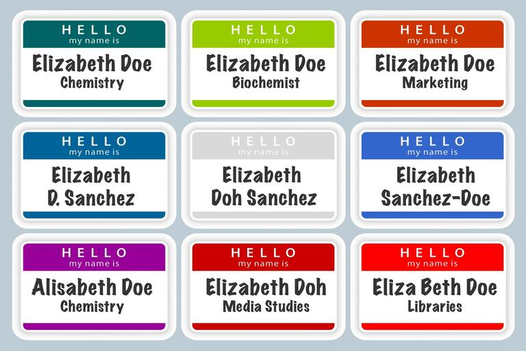 """illustration of name tags with variations on the name """"Jane Doe"""""""