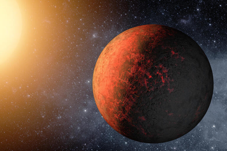 Artist's rendition of a hot Earth-sized planet