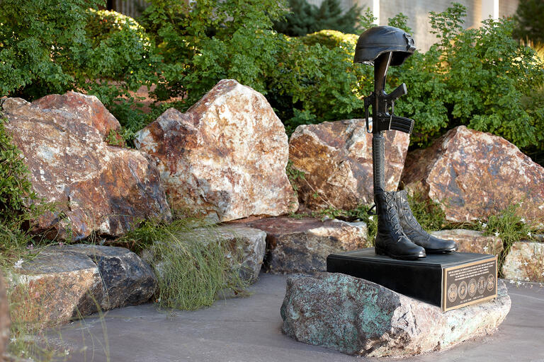 "The sculpture ""Fallen Soldier"" at the Veterans Memorial on the UNLV campus"