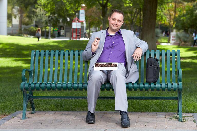 David Sinclair sits on bench