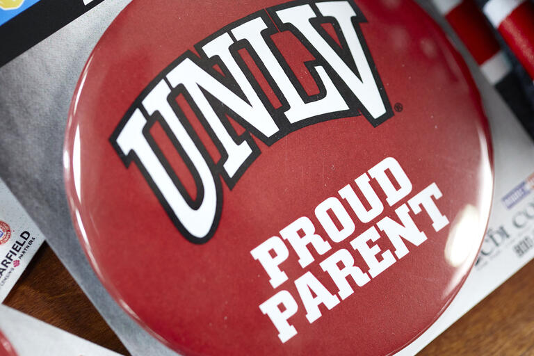 "button with ""UNLV Proud Parent"""