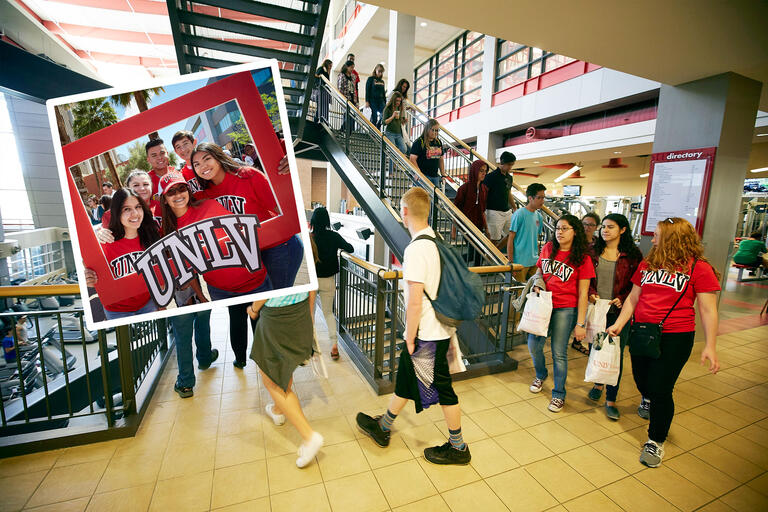 A collage of images showing a group of six students posing with a UNLV photo frame and a dozen students walking down stairs during a building tour.